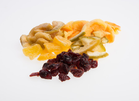 Dried fruits or assorted preserved fruits on background Stock Photo