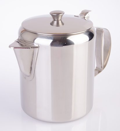 kettle. stainless steel kettle on the background