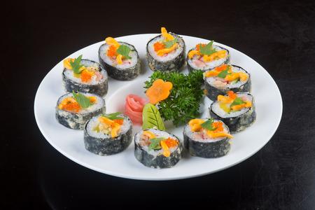japanese cuisine. sushi on background