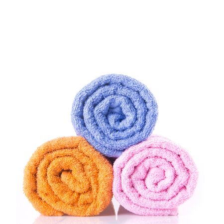 Bath towels on white background
