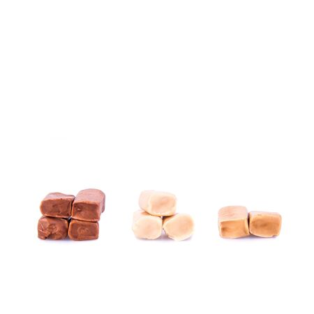 candies or caramel candies on a white background