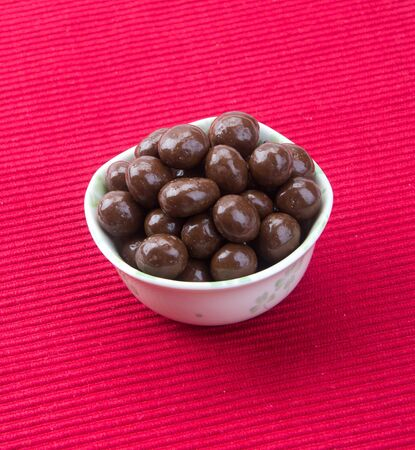 Chocolate ball or chocolate balls in bowl on background new