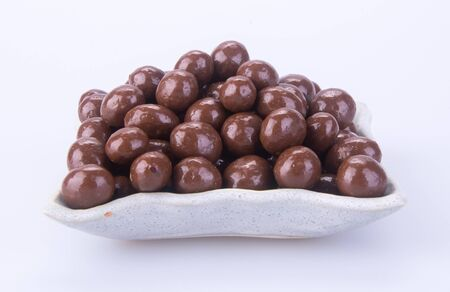 Chocolate ball or chocolate balls in plate on background new