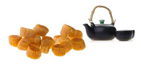Dried scallop on white Standard-Bild