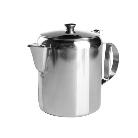 tea pots or stainless steel coffee pot on background new Stock Photo