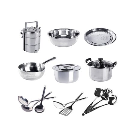A Group of stainless steel kitchenware on white Фото со стока
