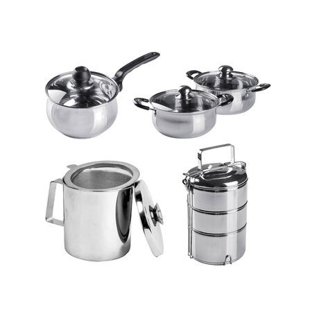 Kitchenware or Group of stainless steel kitchenware on background new