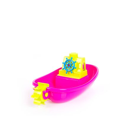 Toy or baby plastic boat toys on the background new
