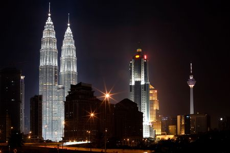 malaysia city: Section of the Business District of Kuala Lumpur showing the famous twin towers
