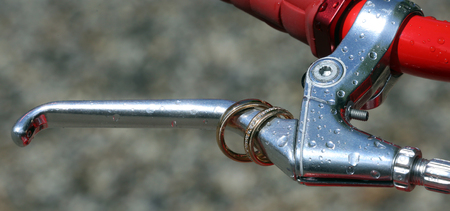 Rain drops on the brake lever of a Martone bicycle