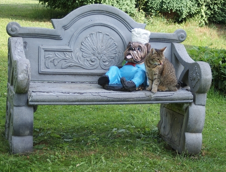 The pretty cat sits next to the figure of an English bulldog on the garden bench
