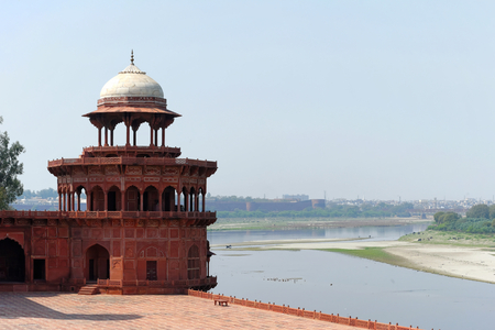 ultimately: Taj Mahal, ultimately from Arabic,  crown of palaces , also  the Taj  is a white marble mausoleum located in Agra, Uttar Pradesh, India  Stock Photo