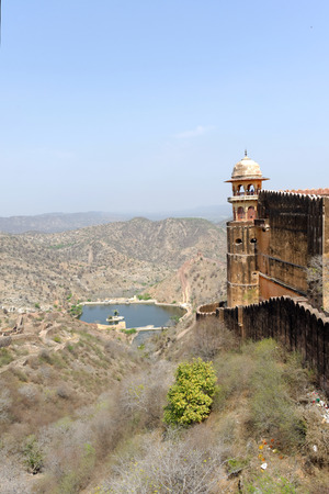 Nahargarh Fort stands on the edge of the Aravalli Hills, overlooking the pink city of Jaipur in the Indian state of Rajasthan