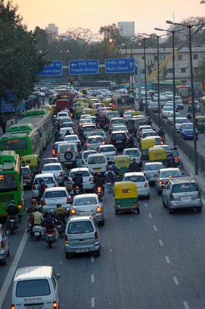 Traffic before sunset in New Delhi, India  Editorial