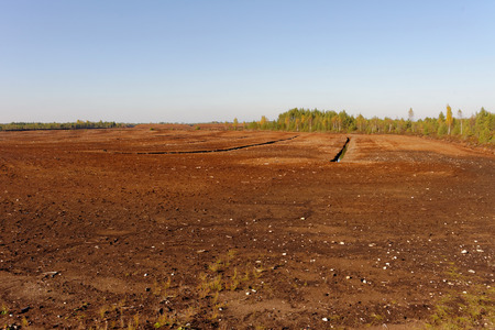 milled: Industrial milled peat production in Saara bog, Estonia.