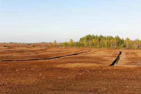 Industrial milled peat production in Saara bog, Estonia.