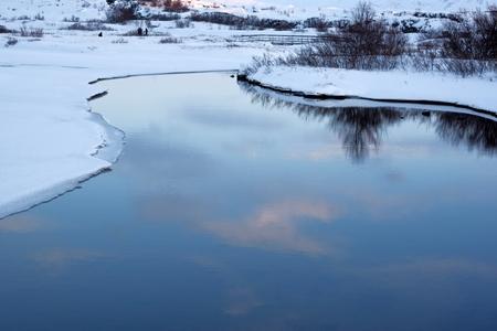 Drekkingarhylur (the Drowning Pool) at Pingvellir National Park , South West Iceland. Stock Photo