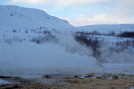 Geyser valley of Haukadalur, South West Iceland. Stock Photo
