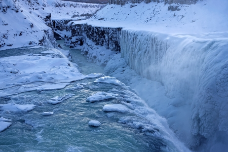 Gullfoss (Golden Falls) is a waterfall located in the canyon of Hvita river in southwest Iceland. Stock Photo