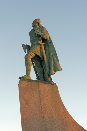 Sculpture of Leif Erikson in front of Hallgrimskirkja. in Reykjavik, Iceland.