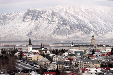 december: Panorama view of Reykjavik, the capital of Iceland in December.