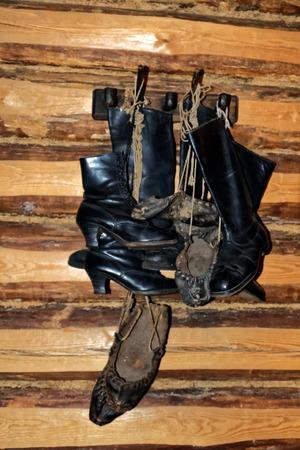 Footwear, interior of a rustical bedroom in Setomaa.