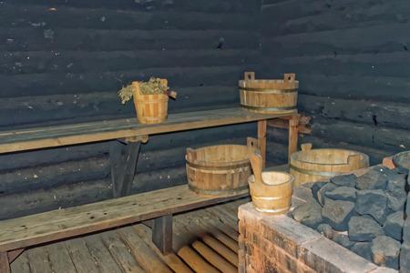 rustical: Interior of a rustical smoke sauna in Setomaa. Stock Photo