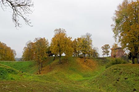 Ruins of Viljandi castle Estonia, a view from inside. Stock Photo