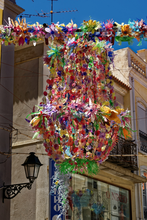 Street decorations in Setubal, Portugal, in the beginning of August. Banco de Imagens - 86026606