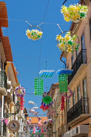 Street decorations in Setubal, Portugal, in the beginning of August. Stock Photo - 86026607