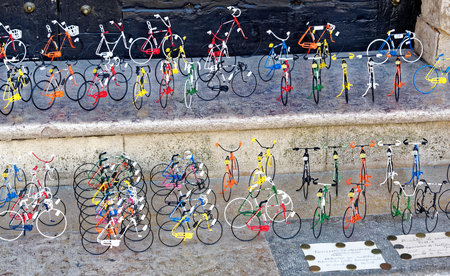 Souvenir bicycles in a Setubal city square. Stock Photo