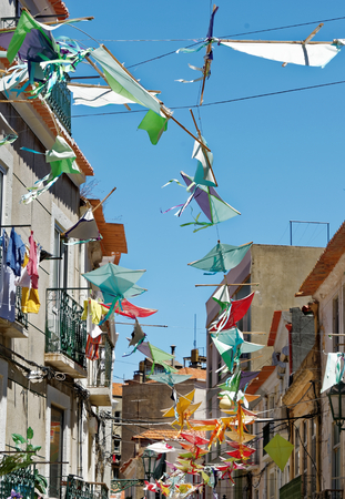 Street decorations in Setubal, Portugal, in the beginning of August. Stock Photo - 86104570