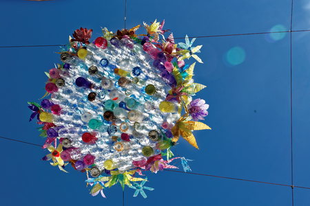 Street decorations in Setubal, Portugal, in the beginning of August. Stock Photo - 85830463