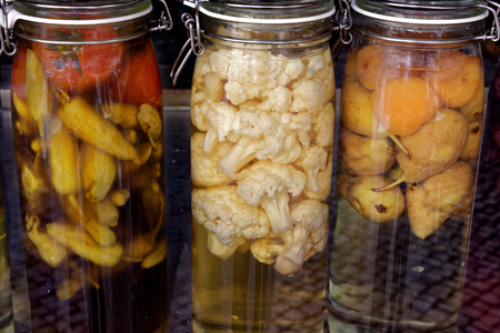 Marinated vegetables on a shop window in Setubal, Portugal.