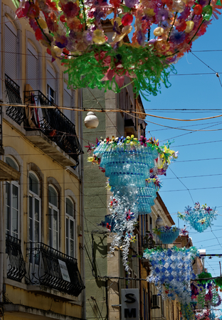 Street decorations in Setubal, Portugal, in the beginning of August. Banco de Imagens - 85830464