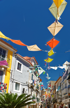 Street decorations in Setubal, Portugal, in the beginning of August.