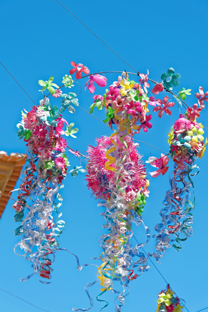 Street decorations in Setubal, Portugal, in the beginning of August. Banco de Imagens - 85890976