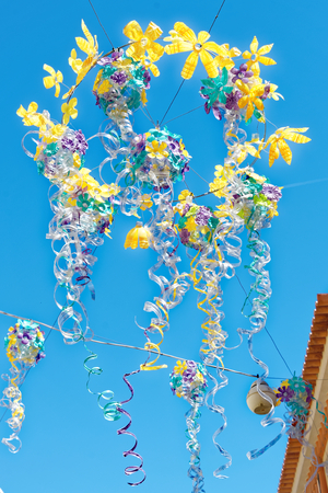 Street decorations in Setubal, Portugal, in the beginning of August. Stock Photo - 85853569