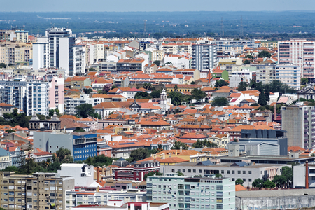 Panorama view from Fort of Sao Filipe to Setubal city.