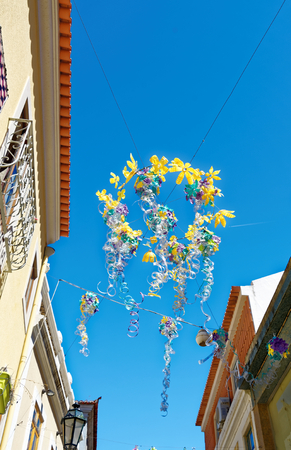 Street decorations in Setubal, Portugal, in the beginning of August. Banco de Imagens - 86107748