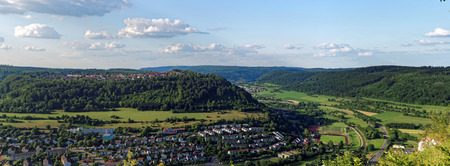 Panorama view to Oberkochen, Baden-W�rttemberg, Germany, central Europe.