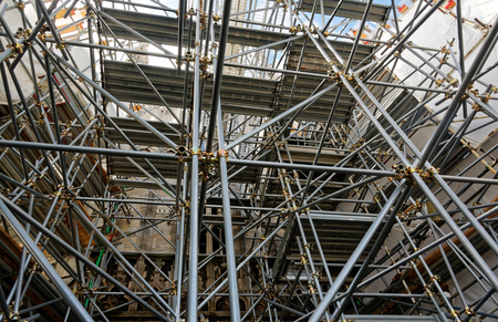 Scaffolding on Milan Cathedral in spring, April