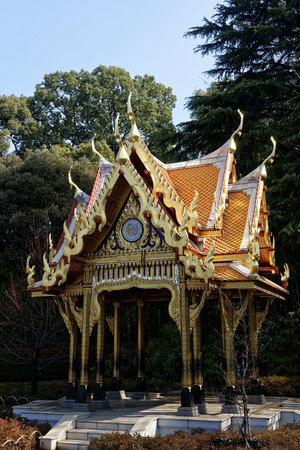 Thai Pavilion (Sala Thai) is a gift from the Royal Thai Government to mark the 120th Anniversary of Diplomatic Relations between Thailand and Japan.