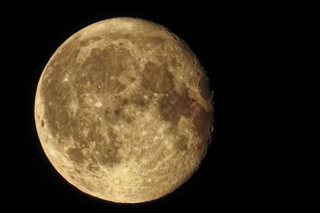 Moon is an astronomical body that orbits the planet and acts as its only permanent natural satellite Stock Photo