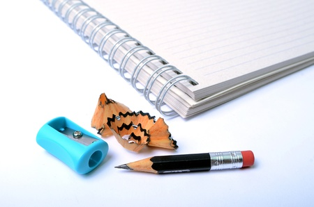 Pencil, Sharpener and Notebook Stock Photo - 11519471
