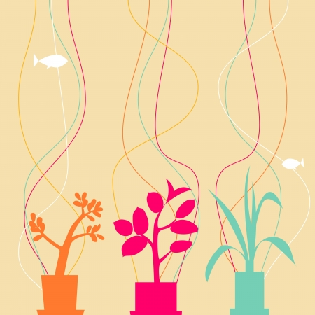 House plants and fishes Stock Vector - 17667311