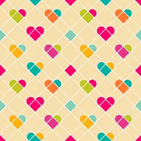 Geometrical hearts seamless pattern