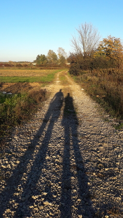 Shadow of two people on the country road with a view of the abandoned fields plunged into high and dry grass reminding of the bushes, large trees and the distant road Stok Fotoğraf
