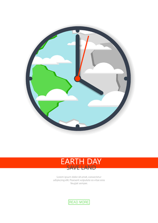 secondary: Recycling, non-waste production, environmentally friendly, care of the planet, flat design. Earth day.