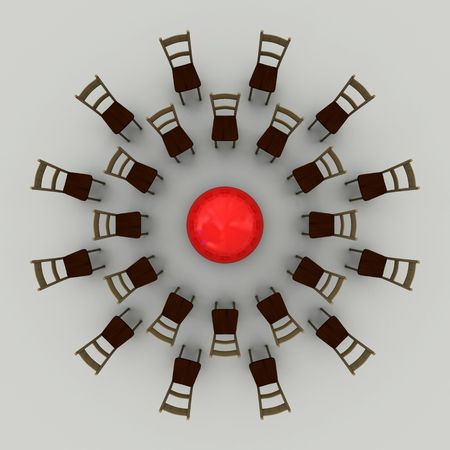 meetings: abstract chair in circle